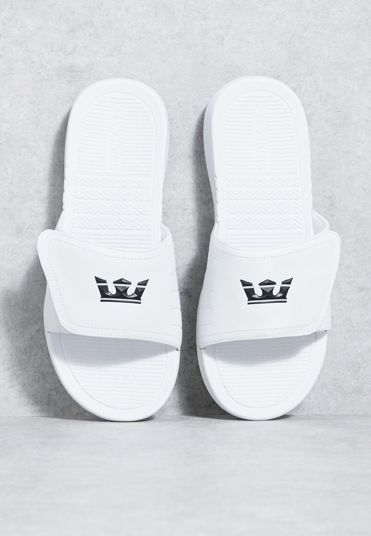 Supra Mens Locker Sandals,12,White