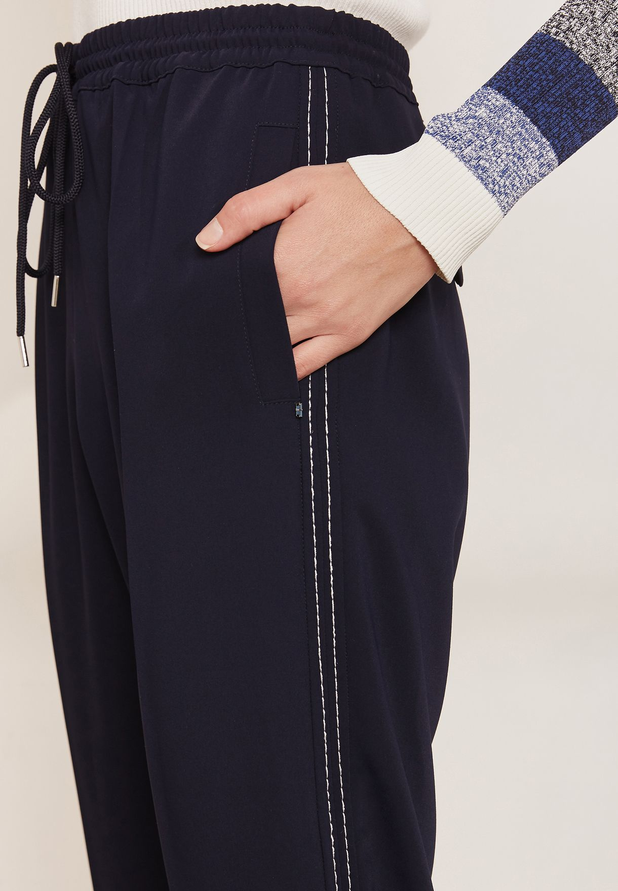 Buy Sportmax Code Navy Aire High Waist Ankle Grazer Pants For Women, Uae Sp737at38poj