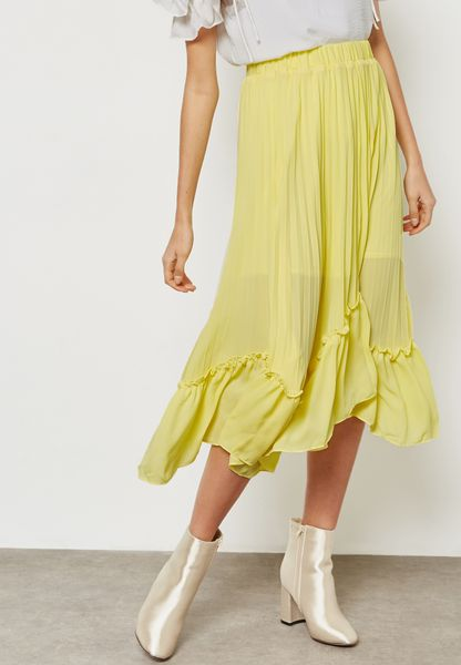 Pleated Ruffle Hem Skirt