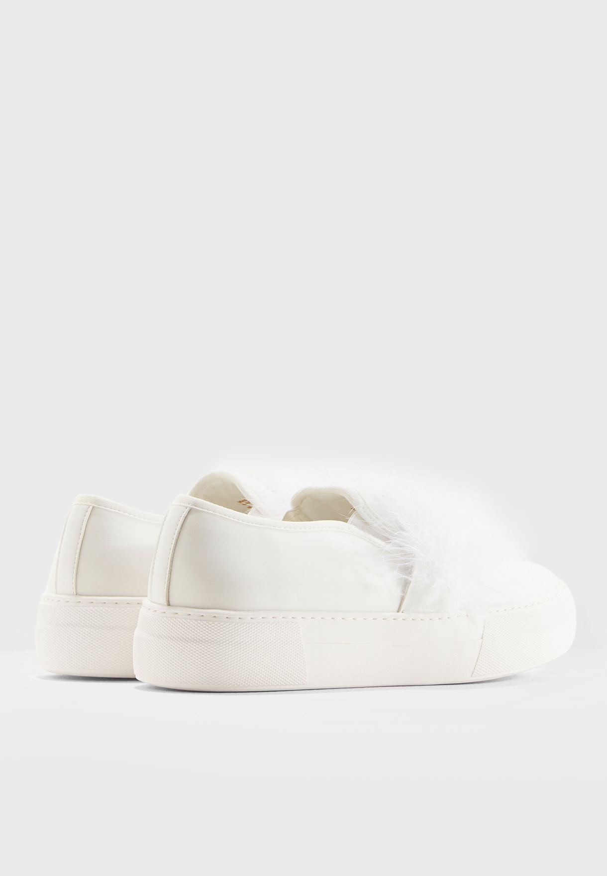 Slip On Sneaker With Feather Trim.