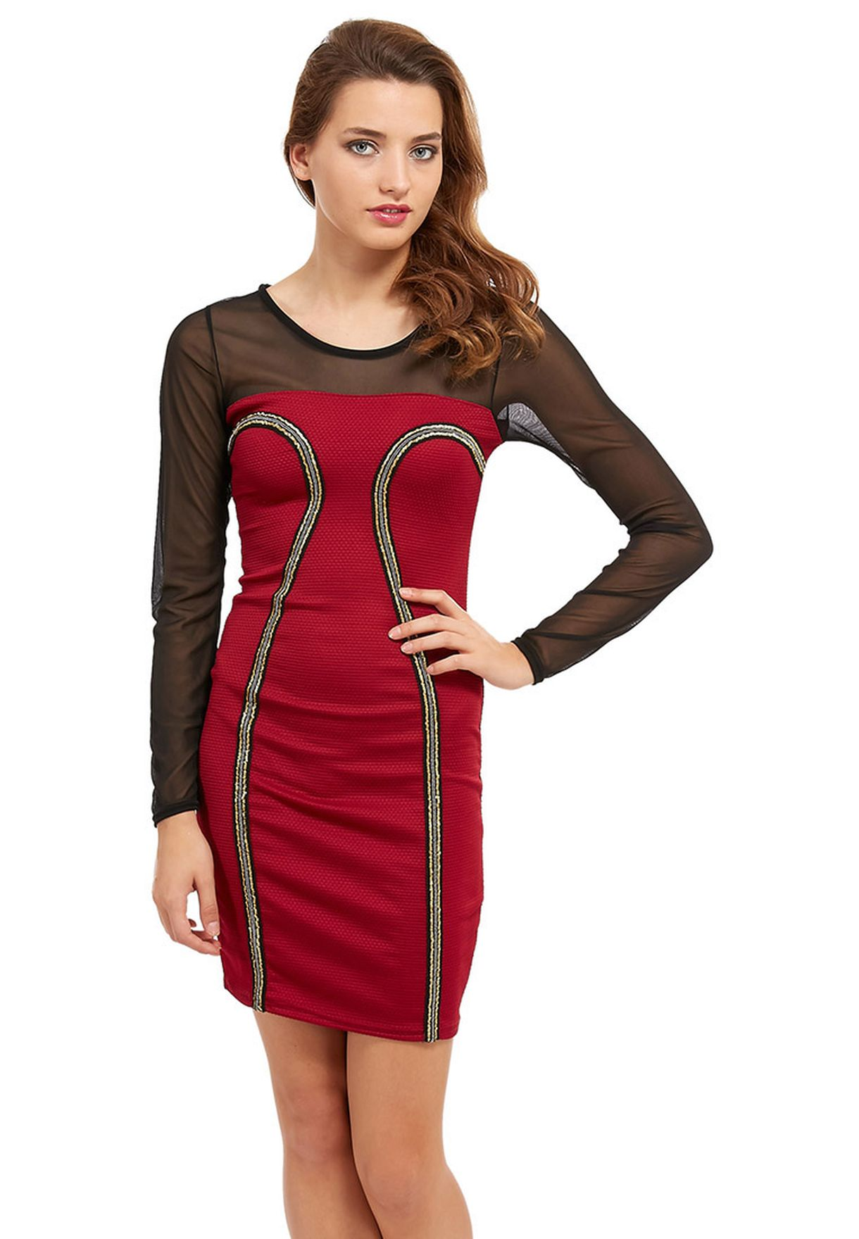 55995505ec Shop Ruby Q red Mesh Insert Dress for Women in Saudi - RU428AT38OZT