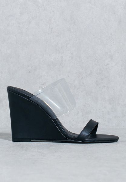 Perspex Band Wedge Sandals