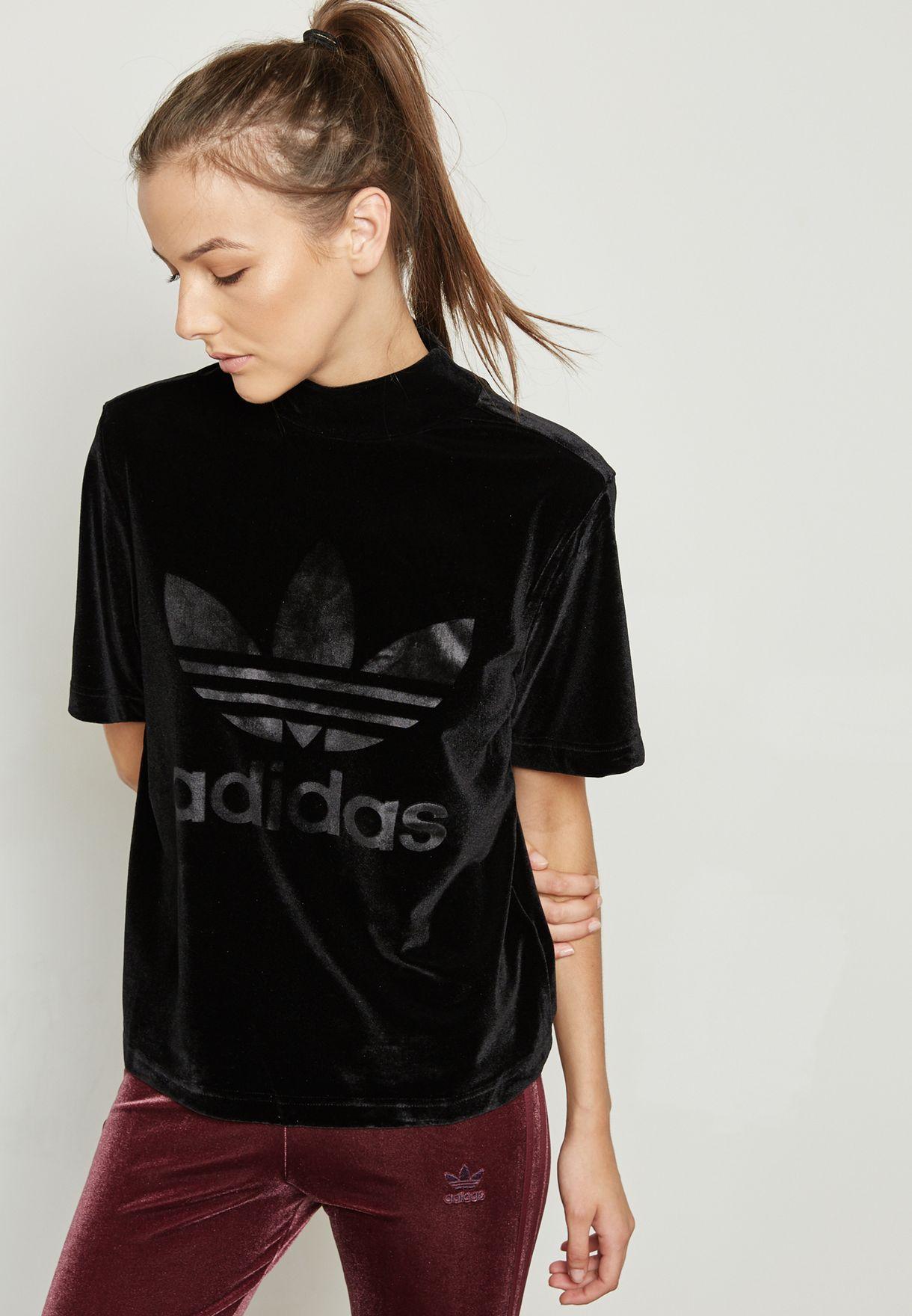 bcb9a93bc908 Shop adidas Originals black Velvet Vibes High Neck T-Shirt CW0278 ...