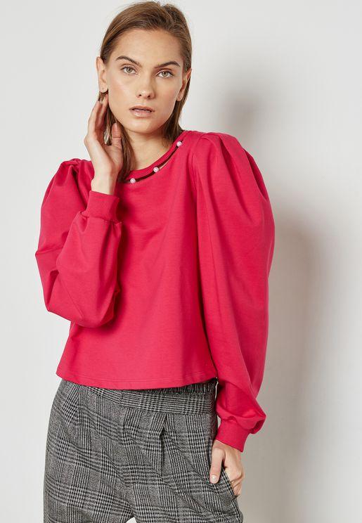 Pearl Cut Out Neck Sweatshirt