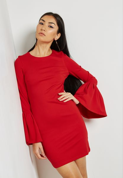 Flute Sleeve  Bodycon dress