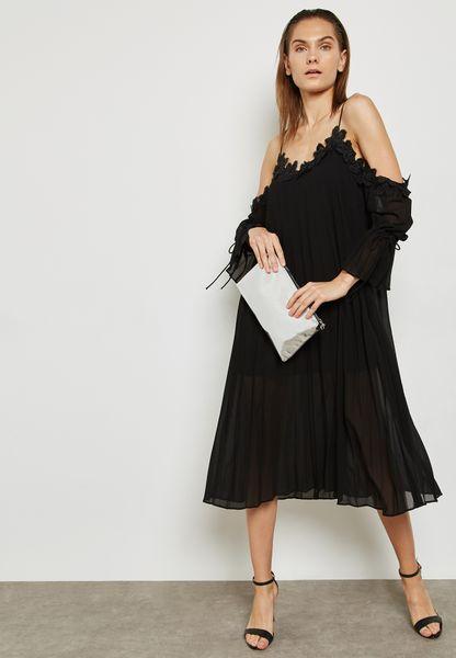Lace Trim Detail Cold Shoulder Dress