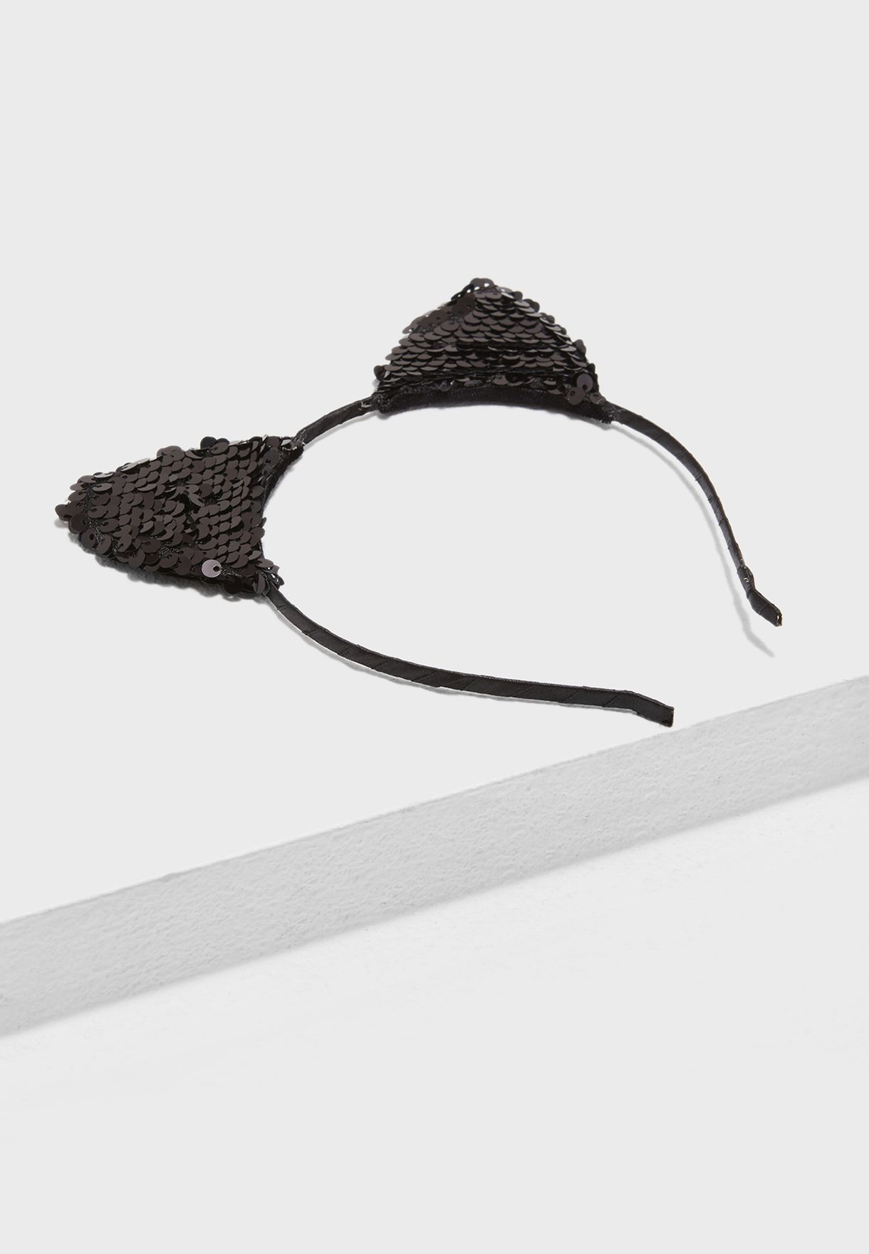Black Sequin Halloween Cat Ears