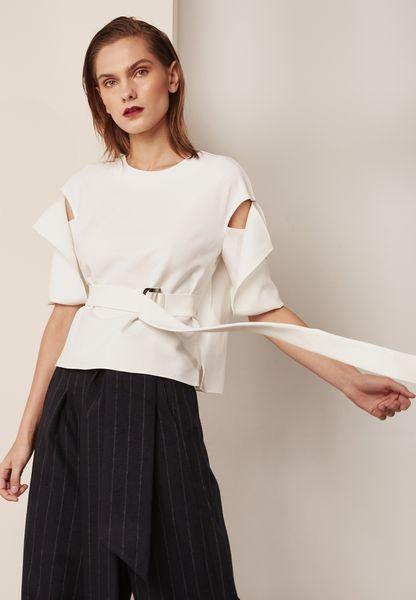 Split Sleeve Belted Top
