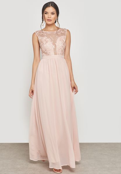 Pleated Lace Maxi Dress