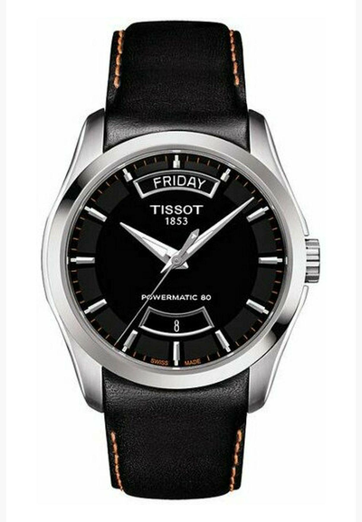 ساعة تيسو كوتورييه أوتوماتيكية بسوار جلدي - T035.407.16.051.03