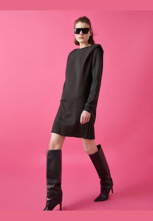 Shoulder Pad Long Sleeve Mini Dress