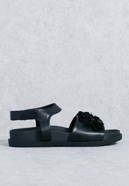 Ceyla flaral trim velcro sandal