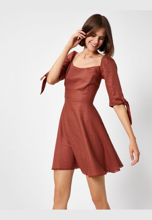 3/4 Sleeve Lace Up Mini Dress