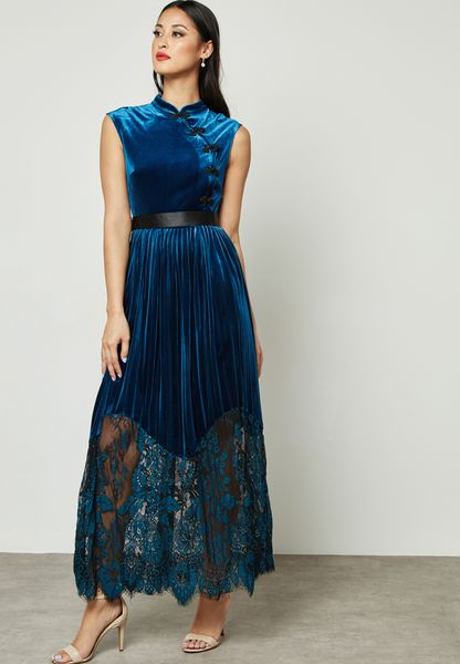 Velvet Lace Hem Pleated Dress