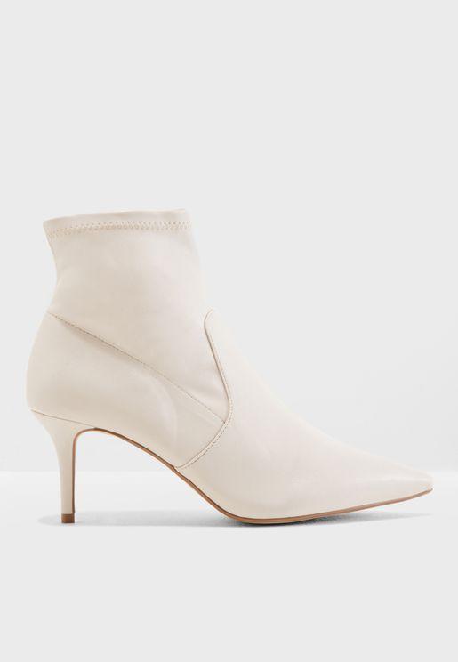 Bone Heel Ankle Boot