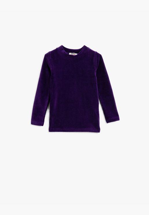Velvet Crew Neck Long Sleeve Cotton T-Shirt