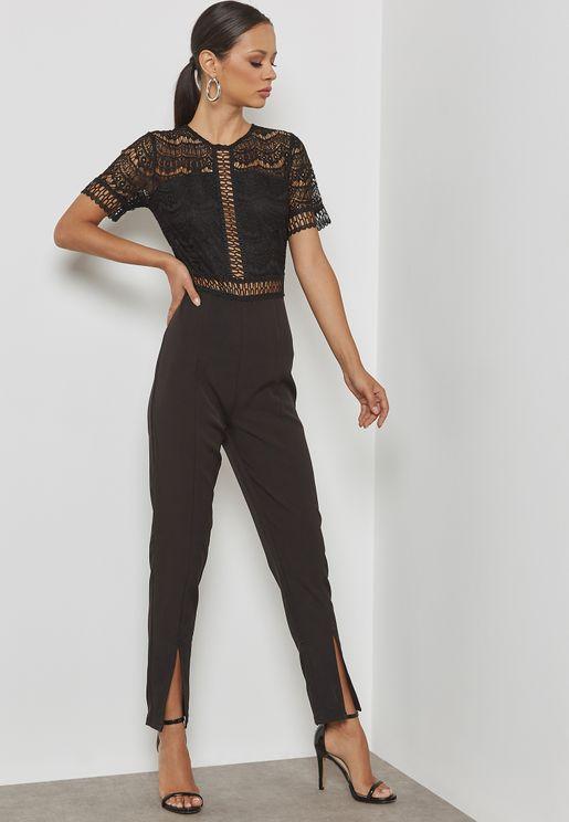 Lace Top Cigarette Trousers Jumpsuit