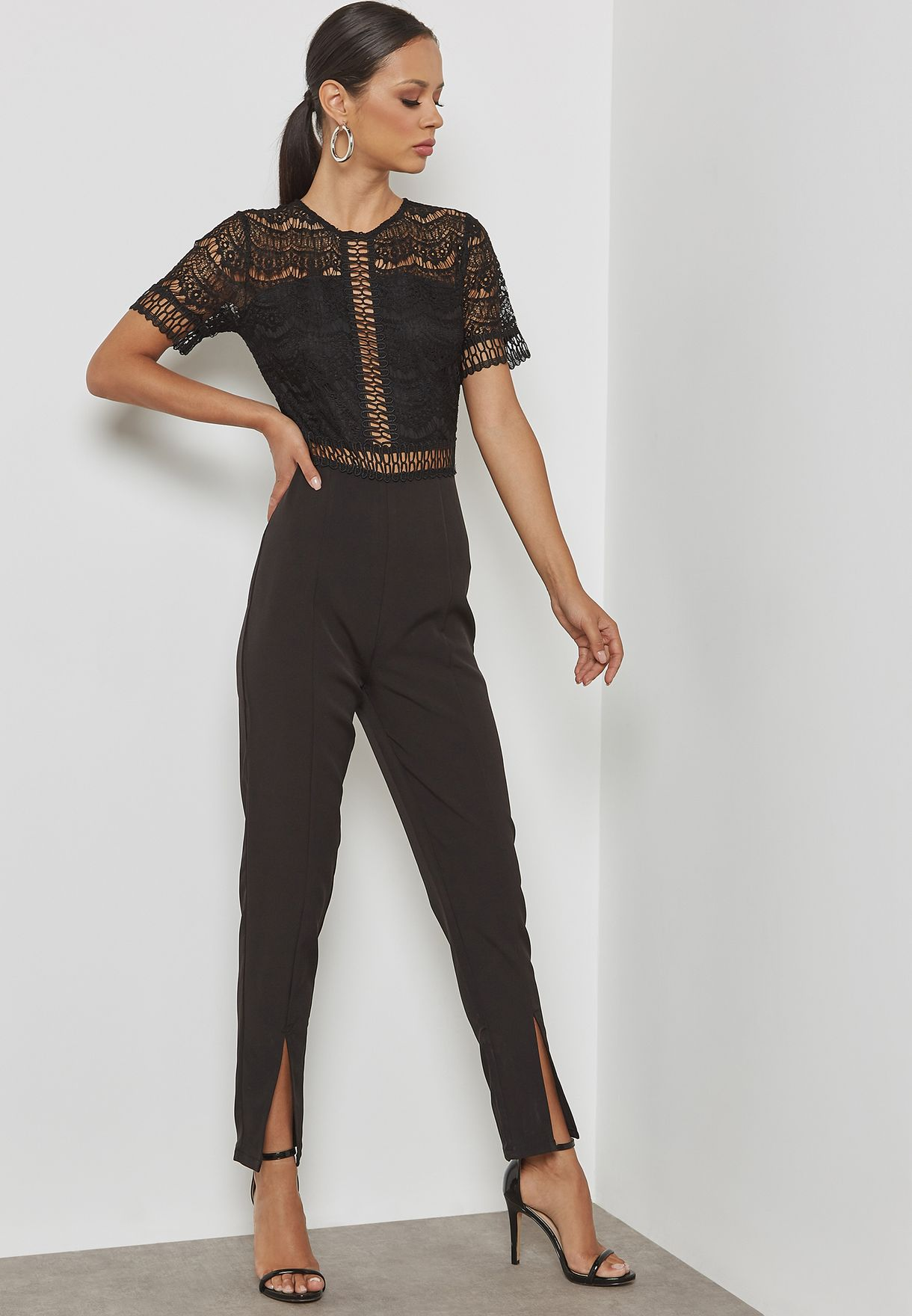 cbe9e9c27255 Shop Missguided black Lace Top Cigarette Trousers Jumpsuit WXM9903584 for  Women in Qatar - MI669AT28CBV