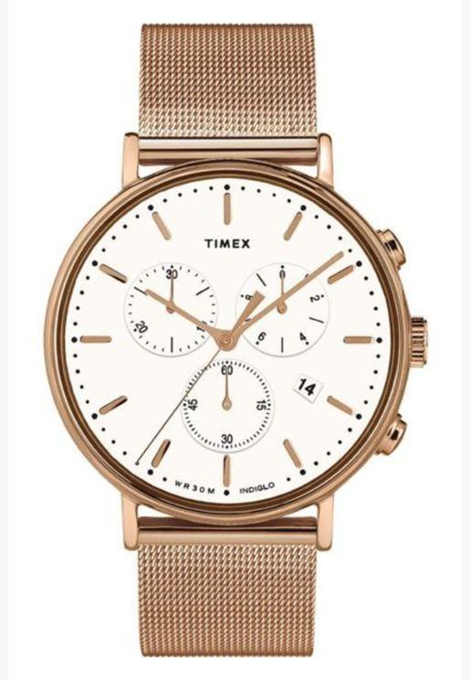 ساعة تيميكس فيرفيلد للنساء بسوار شبكي - TW2T37200
