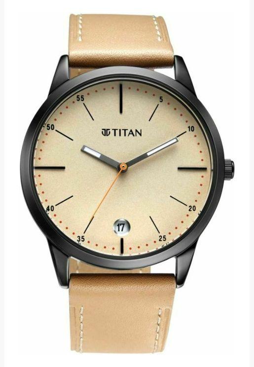 ساعة تيتان للرجال المنت مينا بيج تان جلد - T1806NL04.5