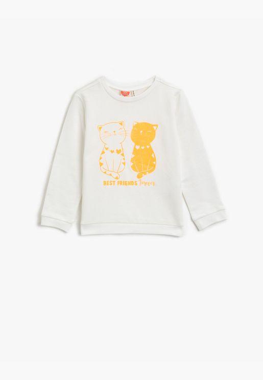 Cotton Silvery Printed Long Sleeve Crew Neck Sweatshirt