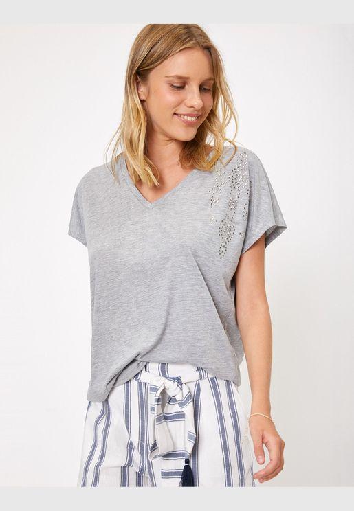 Stone Detailed T-Shirt