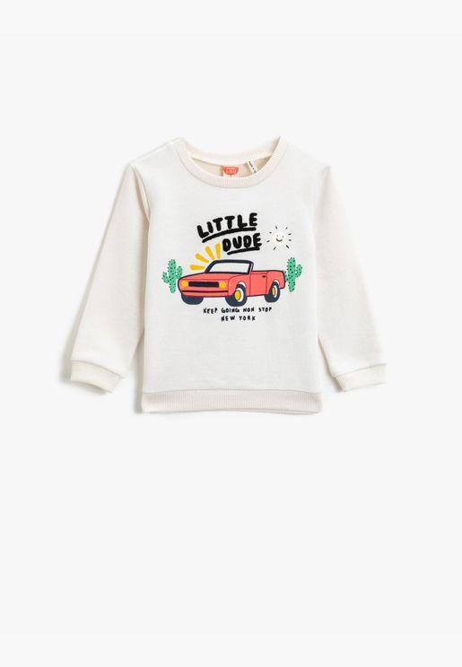 Respect Life   Yaşama Saygı - Printed Crew Neck Long Sleeve Sweatshirt
