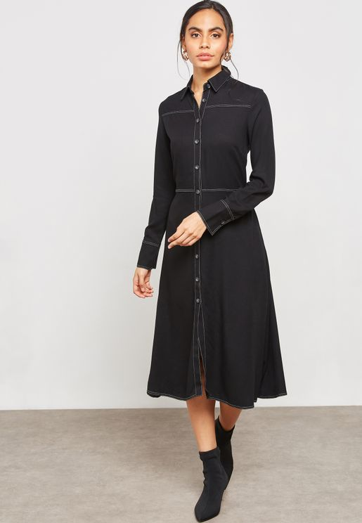 Contrast Stitch Shirt Dress