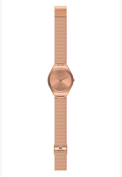 ساعة سواتش جلد ايرونى 38 للنساء بسوار ستانلس ستيل - SYXG101GG