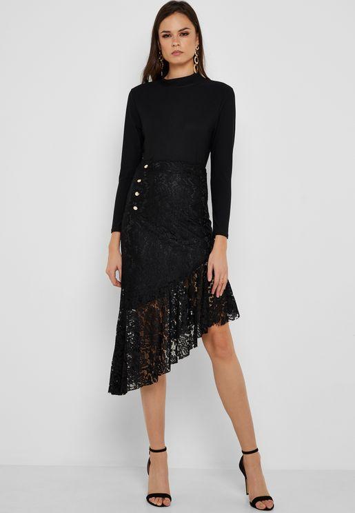 Asymmetrical Lace Overlay Skirt