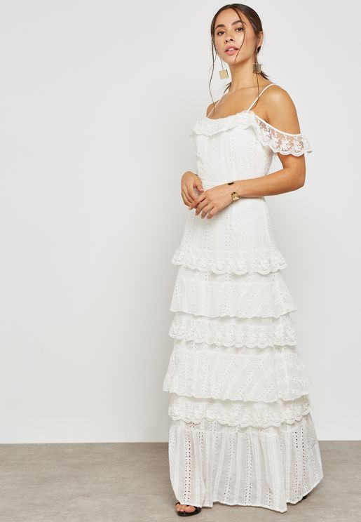 Frill Layered Cold Shoulder Dress