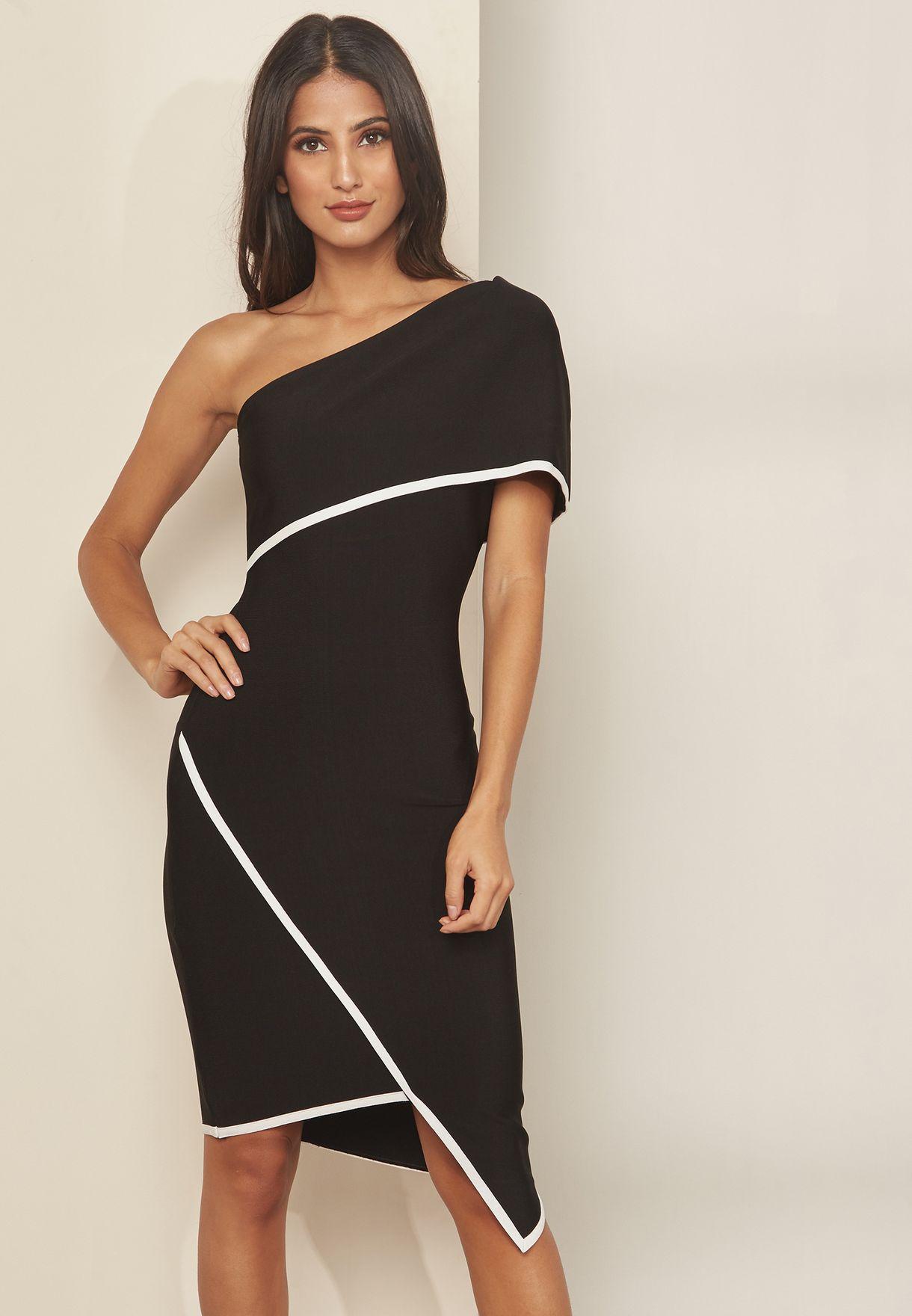 0fc9b025dc6fc Shop Elliatt black Emily One Shoulder Asymmetric Dress ED2091819 for ...
