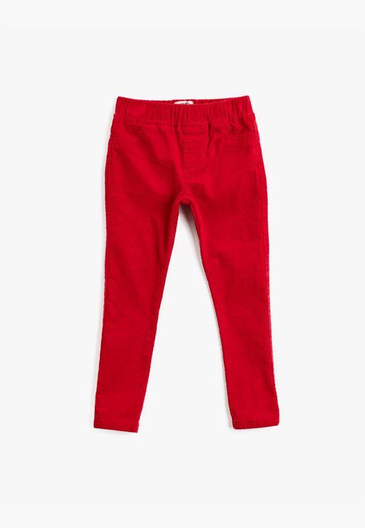 Velvet Cotton Pocket Detailed Medium Rise Trousers