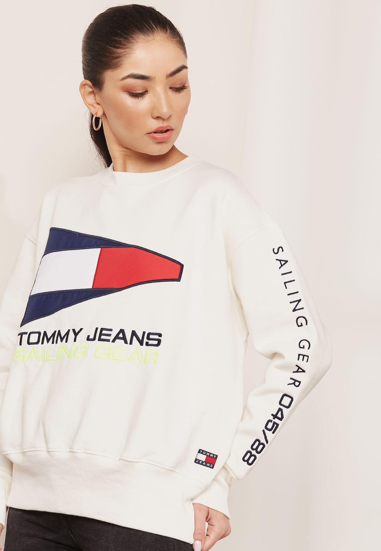 29812be6273053 Shop Tommy Jeans white TJW 90s Capsule Logo Sweatshirt DW0DW05392113 ...
