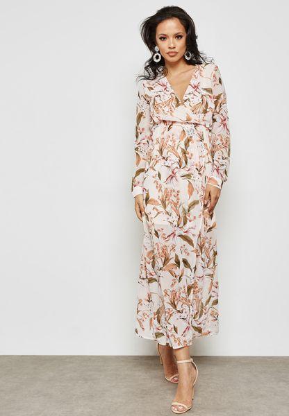 Leaf Print Wrap Maxi Dress