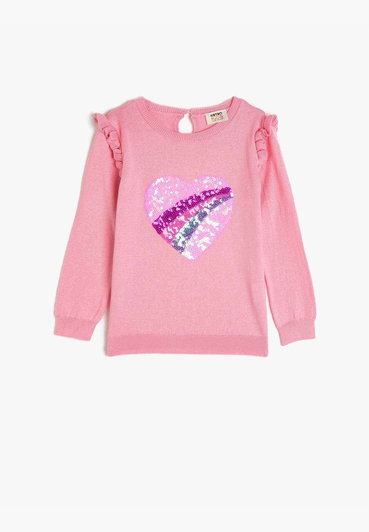 Crew Neck Sequinned Frill Detailed Sweater