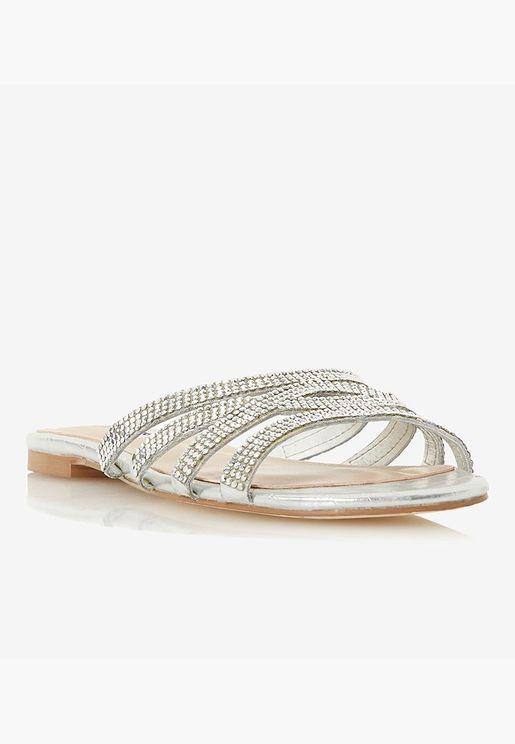 Embellished Open Toe Flats - Silver