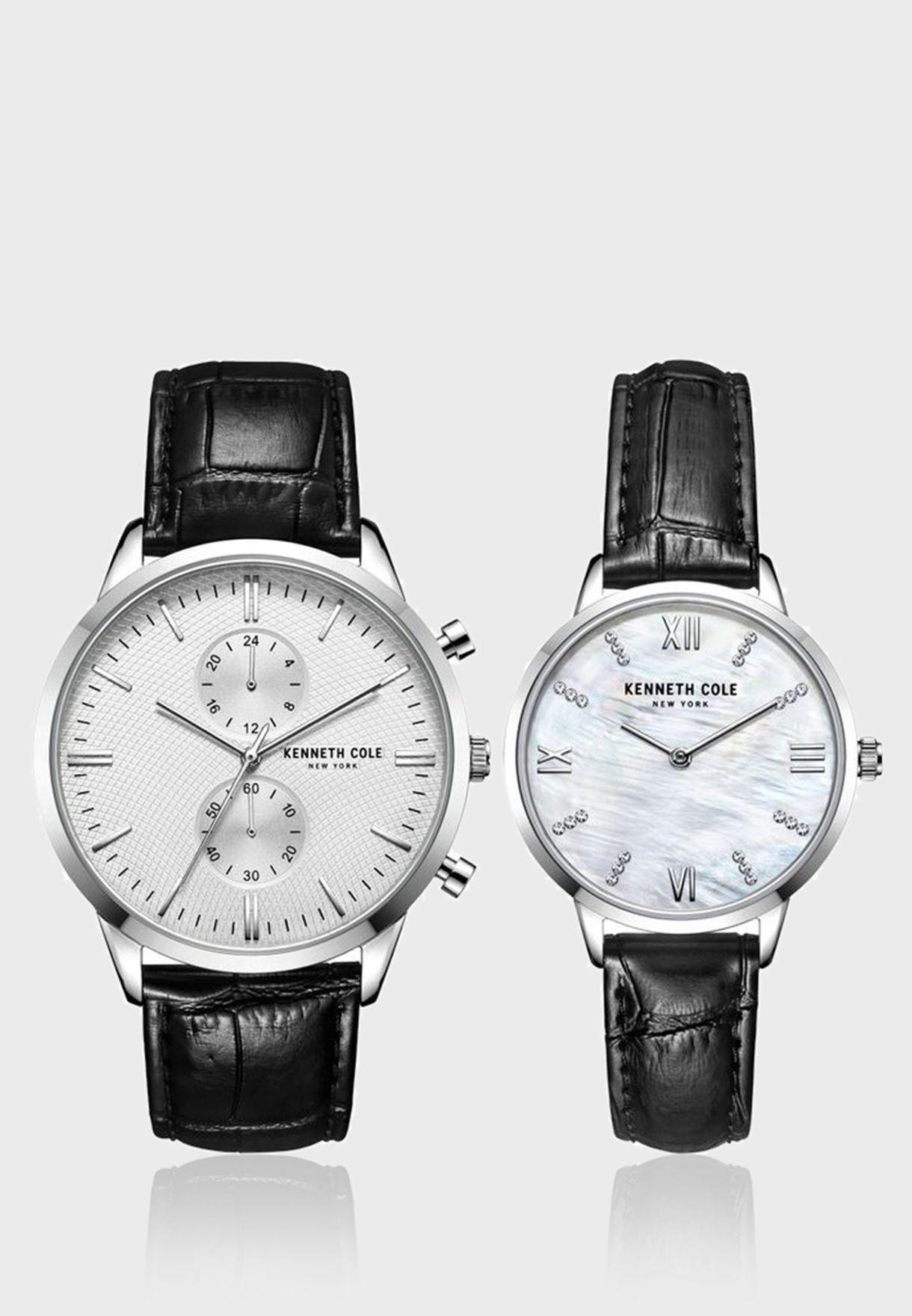 كينيث كول طقم ساعة بسوار جلدي للجنسين - KC50993001