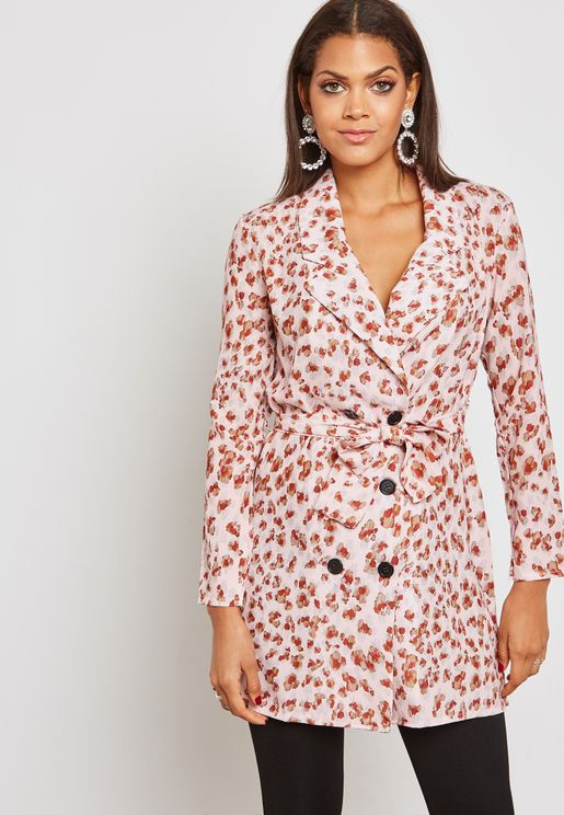 Printed Double Breasted Self Tie Blazer