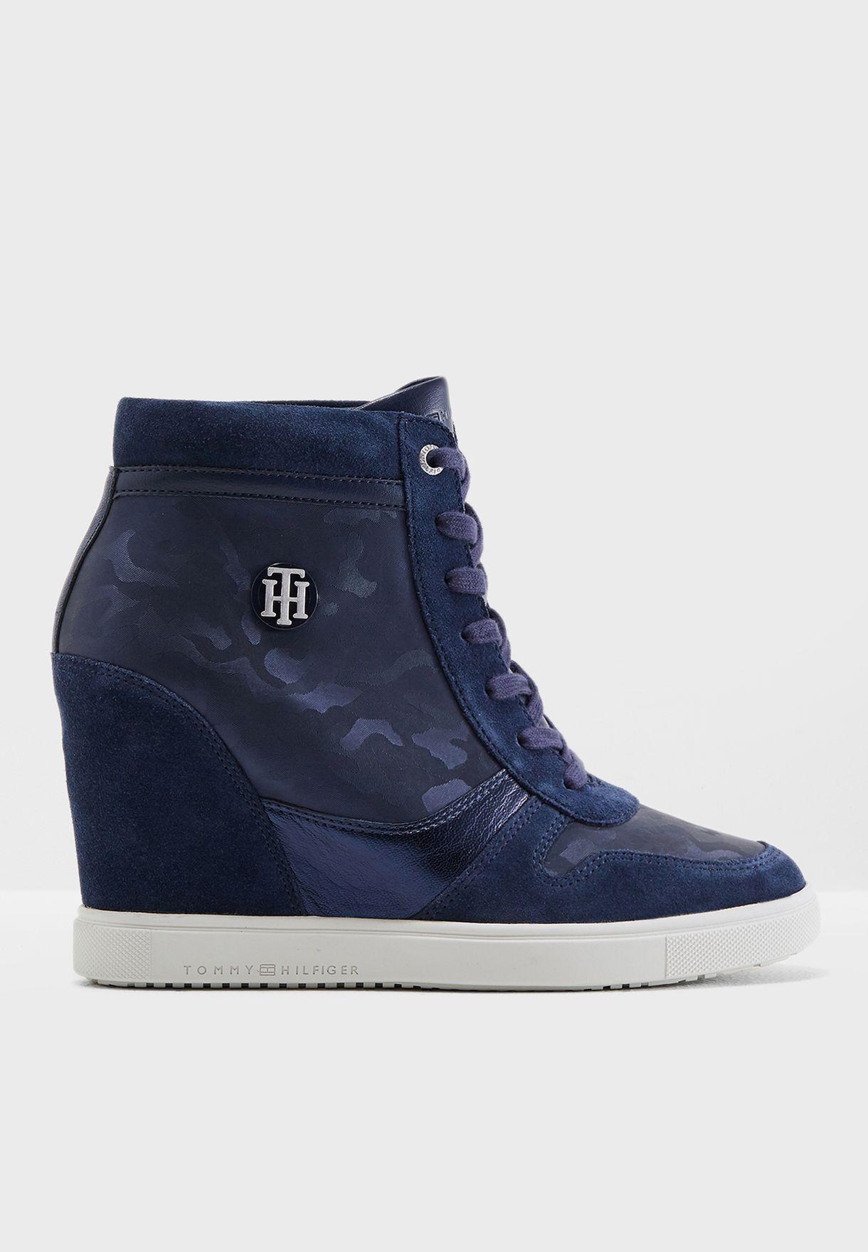 166d78d365beb Shop Tommy Hilfiger navy Camo Dress Sneaker FW0FW03224406 for Women ...