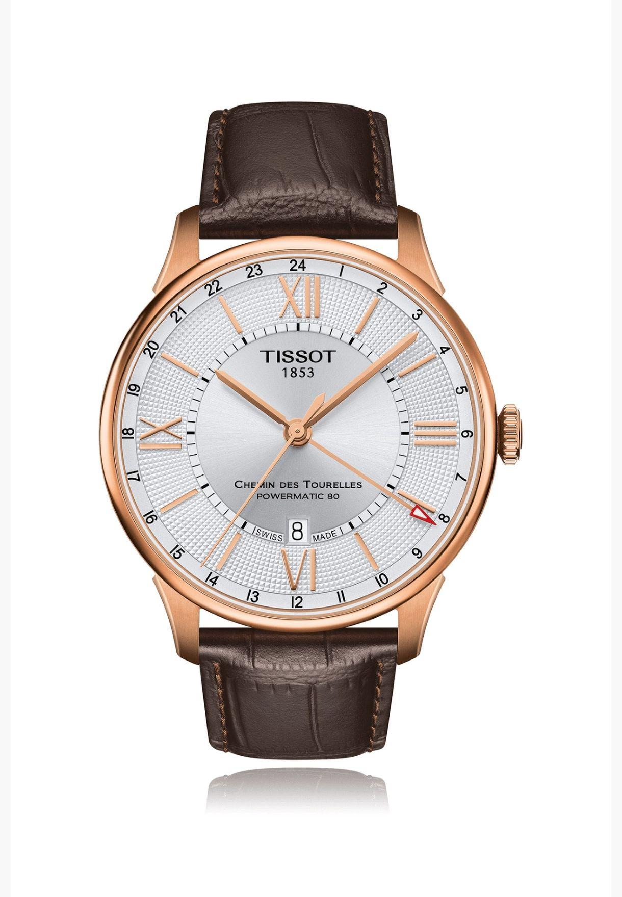 ساعة تيسو شيمين دي توريل بسوار جلدي - T099.429.36.038.00