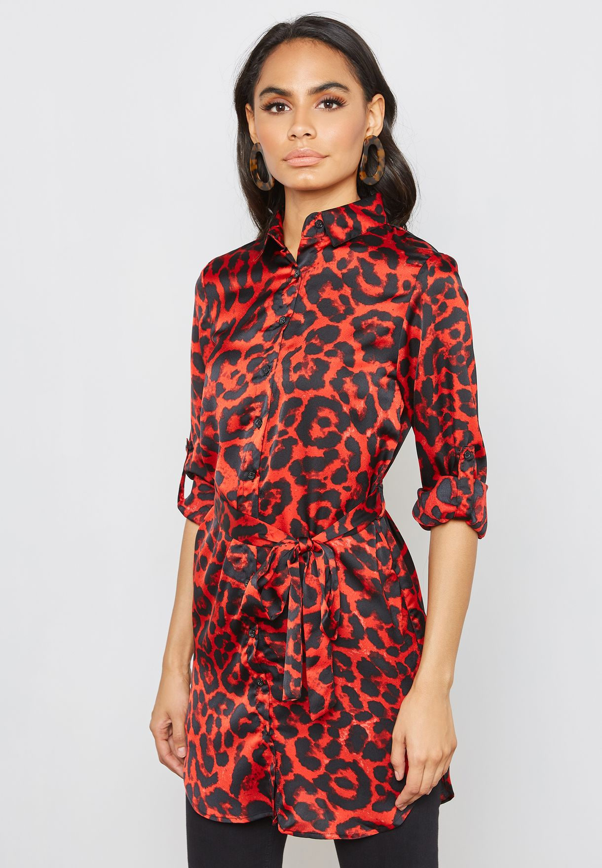 bfc4ea8cfe Shop Quiz prints Leopard Print Long Sleeve Shirt Dress 00100017707 for  Women in Saudi - QU110AT28CTZ