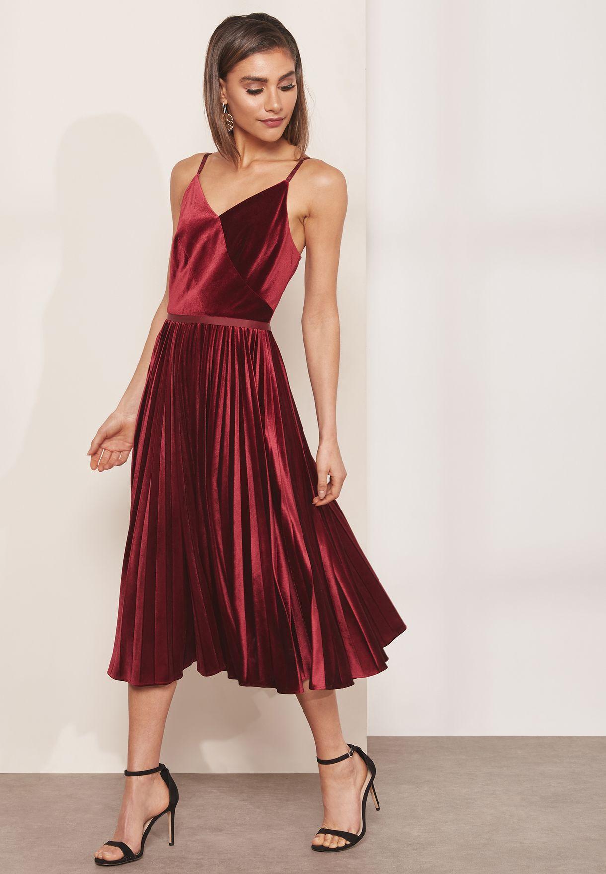 6e30f69efaebdf Shop Ted baker burgundy Khim Velvet Pleated Halter Neck Sleeveless ...