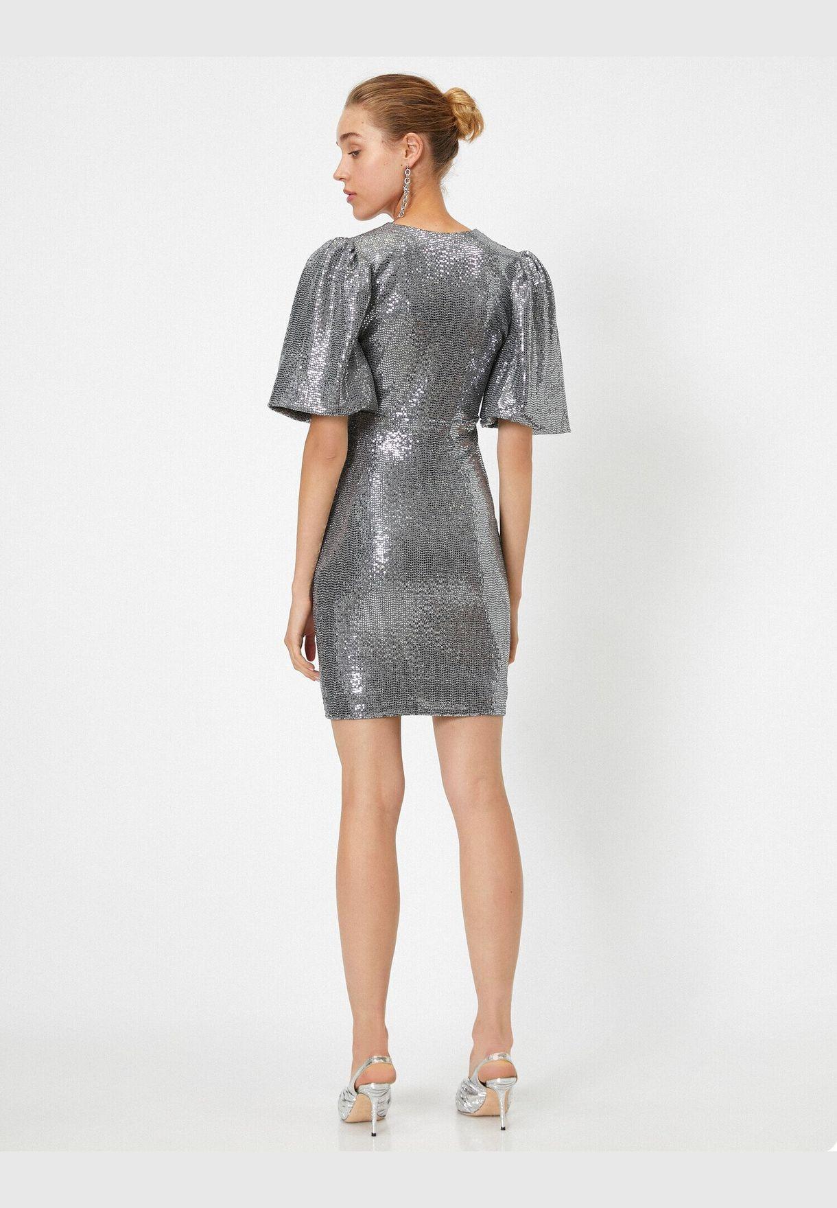 Short Sleeve V Neck Sequin Mini Dress