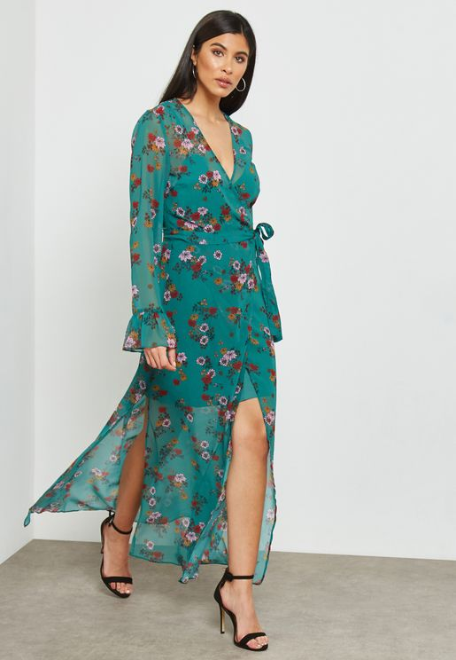 Floral Print Wrap Maxi Dress with Slits