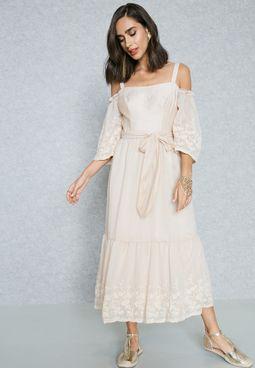 Embroidered Cold Shoulder Self Tie Dress