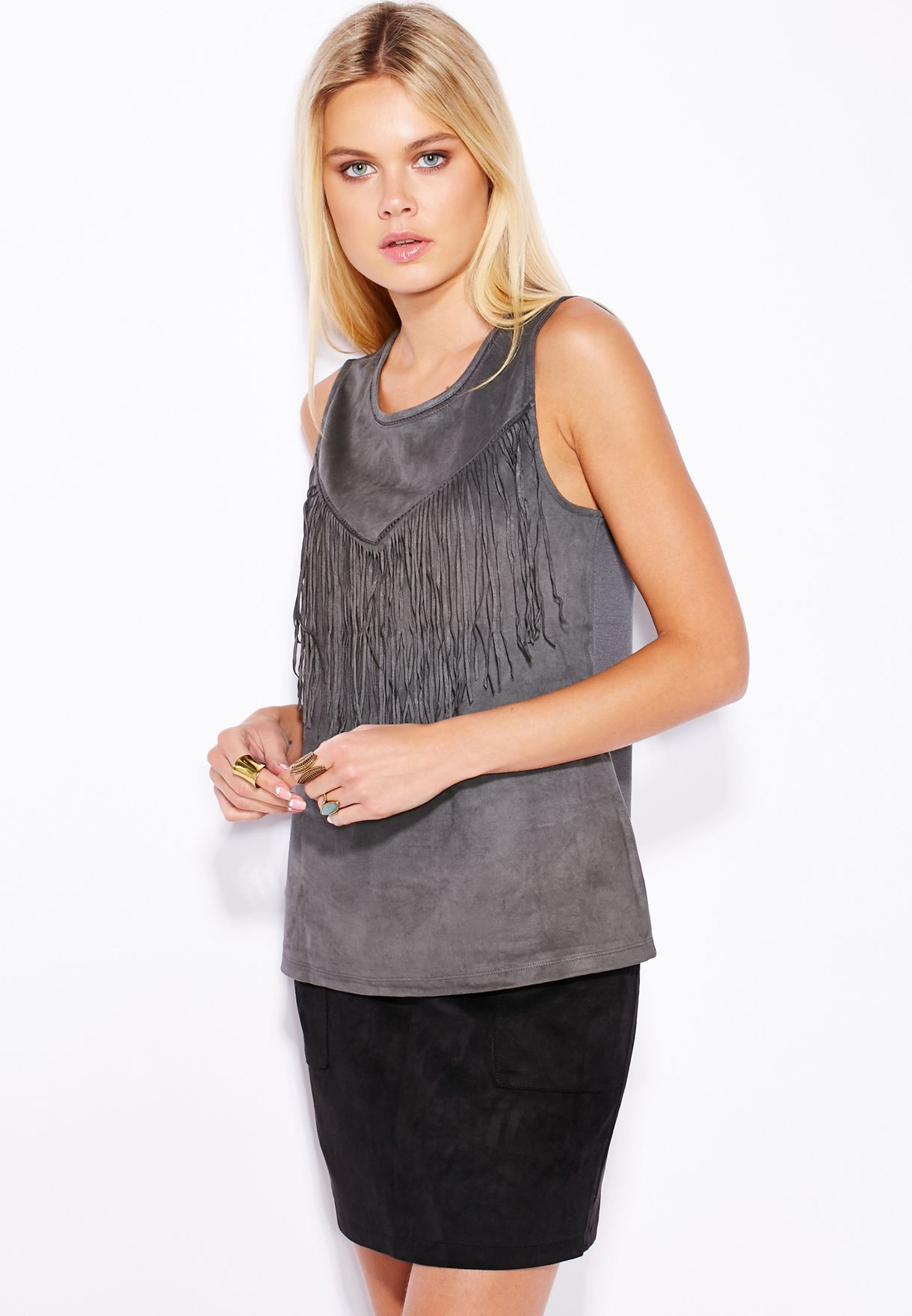 b6a83572e1e Shop Only grey Suedette Fringe Top 15111695 for Women in UAE ...