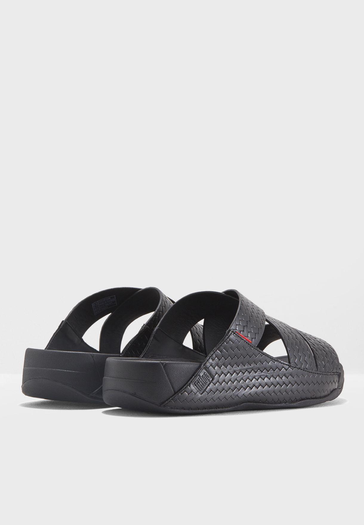 0ddd5f623b5b Shop Fitflop black Woven Arabian Sandals K88-001 for Men in UAE ...