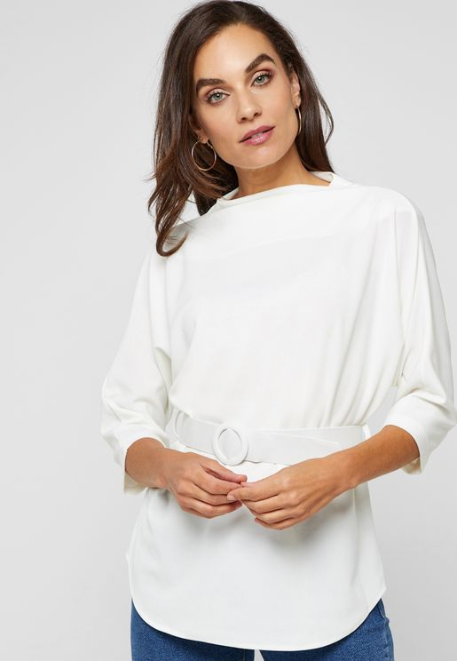 High Neck Belted Top