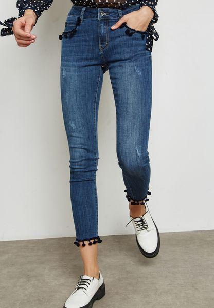 Pom Pom Detail Skinny Jeans
